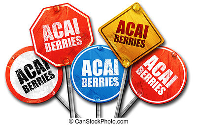 acai berries, 3D rendering, street signs