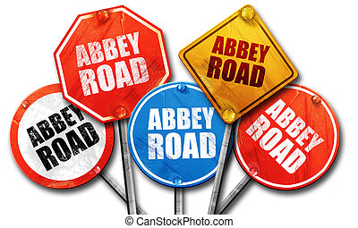 abbey road, 3D rendering, street signs