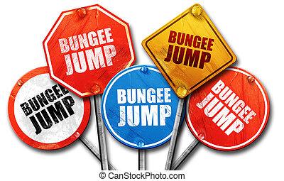 bungee jump, 3D rendering, street signs