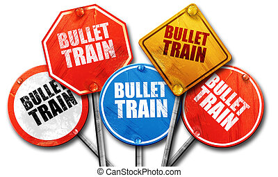 bullet train, 3D rendering, street signs