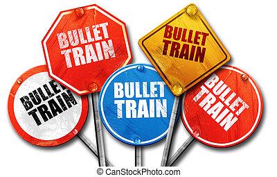 bullet train, 3D rendering, street signs