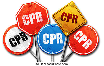 cpr, 3D rendering, street signs