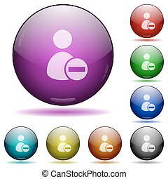 Remove user account glass sphere buttons - Set of color...