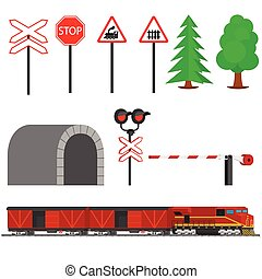 Railroad traffic way and train with boxcars Railroad train...