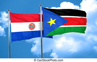 Paraguay flag with South Sudan flag, 3D rendering