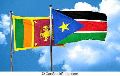 Sri lanka flag with South Sudan flag, 3D rendering