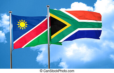 Namibia flag with South Africa flag, 3D rendering