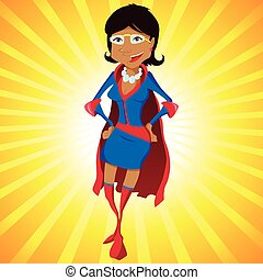 Black Super Woman Mother Cartoon with Yellow Background...