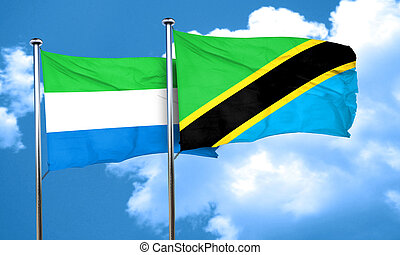 Sierra Leone flag with Tanzania flag, 3D rendering