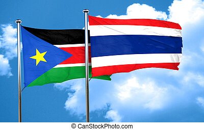 south sudan flag with Thailand flag, 3D rendering