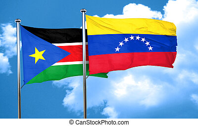 south sudan flag with Venezuela flag, 3D rendering