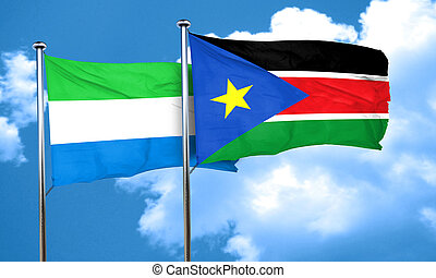 Sierra Leone flag with South Sudan flag, 3D rendering