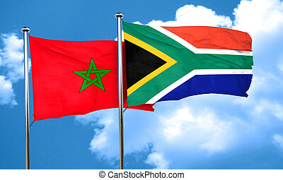 Morocco flag with South Africa flag, 3D rendering