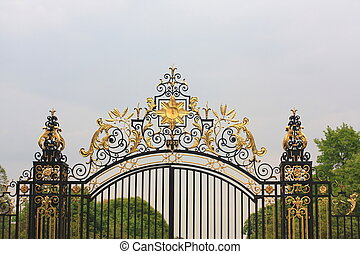 Old, golden gate details, Regent Park, London