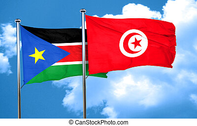 south sudan flag with Tunisia flag, 3D rendering