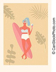 Flat illustration with surfer girl