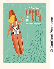 Summer beach surfing girl illustration.