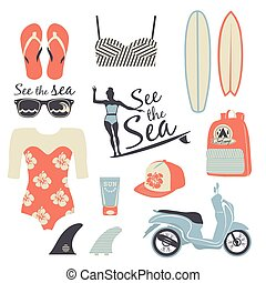 Surfer girl retro vector set. - Beach style. Surfer girl...