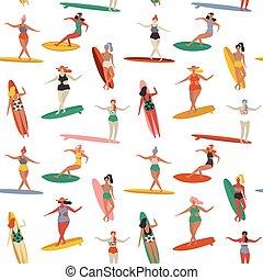 Surfing illustration in vector.