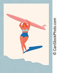 Art deco poster with surfer girl
