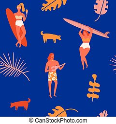 Retro art deco poster in vector - Beach summer vacation...