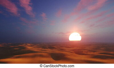 Dramatic sunset in african desert - Sunset desert landscape...