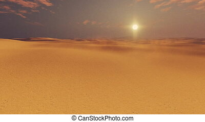 African desert at sunset panorama - Panorama of barren dunes...