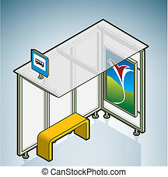 Bus Stop part of On the Street Items Isometric 3D Icons Set...