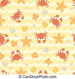 Seamless pattern with cute cartoon crabs, seashells and starfishes