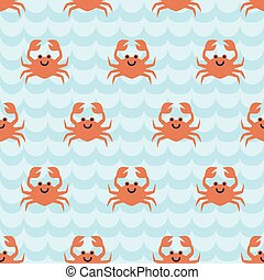 Seamless pattern with cute cartoon crabs