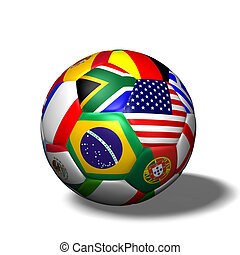 Soccer Ball Flags - Image of a soccer ball with flags from...