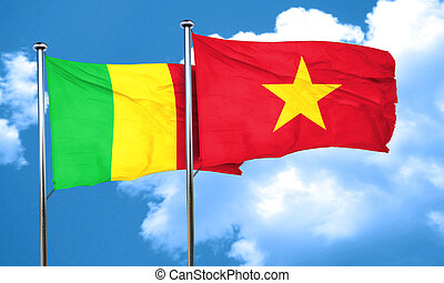 Mali flag with Vietnam flag, 3D rendering