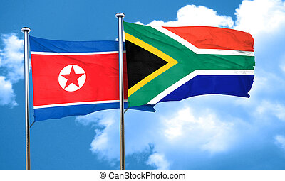 North Korea flag with South Africa flag, 3D rendering