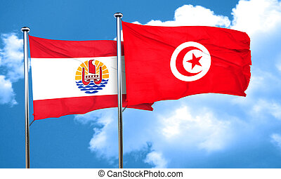french polynesia flag with Tunisia flag, 3D rendering
