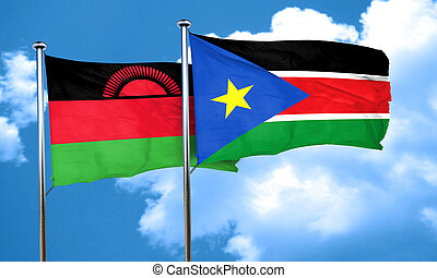 Malawi flag with South Sudan flag, 3D rendering