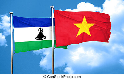 Lesotho flag with Vietnam flag, 3D rendering