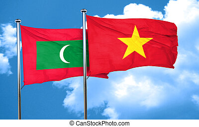 Maldives flag with Vietnam flag, 3D rendering