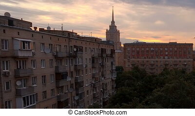 View to Moscow court and on high-rise buildings in the early...