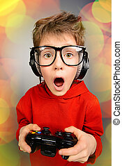 boy gamer - Funny boy gamer with a controller and...