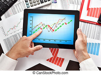 digital tablet with stock chart o