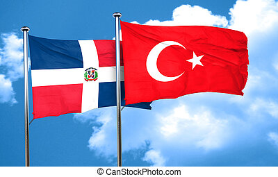 dominican republic flag with Turkey flag, 3D rendering