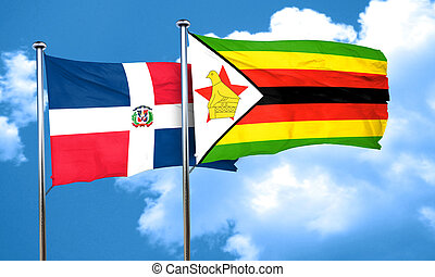 dominican republic flag with Zimbabwe flag, 3D rendering