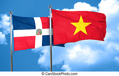 dominican republic flag with Vietnam flag, 3D rendering