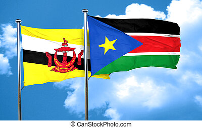 Brunei flag with South Sudan flag, 3D rendering