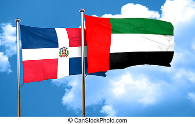 dominican republic flag with UAE flag, 3D rendering