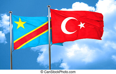 Democratic republic of the congo flag with Turkey flag, 3D...