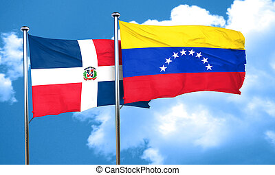 dominican republic flag with Venezuela flag, 3D rendering
