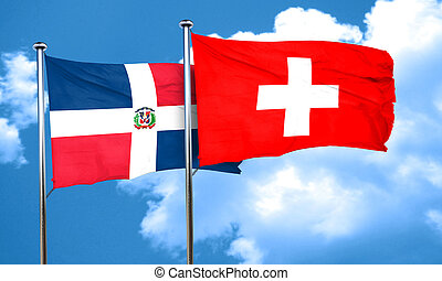 dominican republic flag with Switzerland flag, 3D rendering