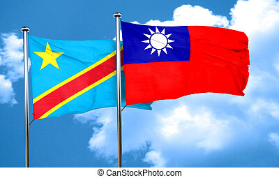 Democratic republic of the congo flag with Taiwan flag, 3D...