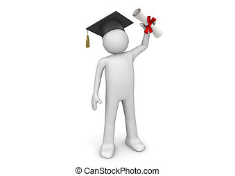 Lifestyle collection - Graduating student with diploma - 3d...